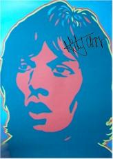 Rolling Stones Autographed Facsimile Signed Mick Jagger Pop Art Poster