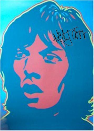 Rolling Stones Autographed Facsimile Signed Mick Jagger Pop Art Poster