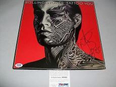 "ROLLING STONES CHARLIE WATTS autographed ""TATTOO YOU"" LP RECORD PSA/DNA COA"