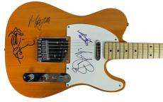 Rolling Stones- Jagger, Richards, Watts, Wood Signed Guitar W/ Sketch PSA S04600