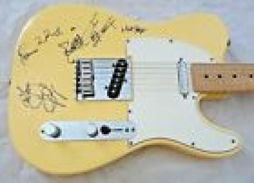 Rolling Stones Jagger Richards Woods Watts Body Signed Guitar BAS REAL Certified