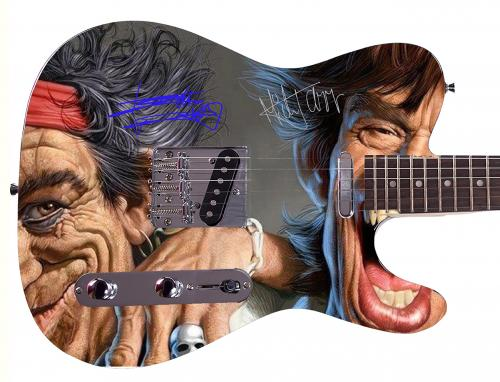 Rolling Stones Mick Jagger Keith Richards  Facsimile Signature Guitar