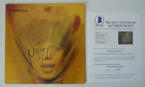 Rolling Stones Mick Jagger Signed Autographed LP Record Cover Beckett Certified