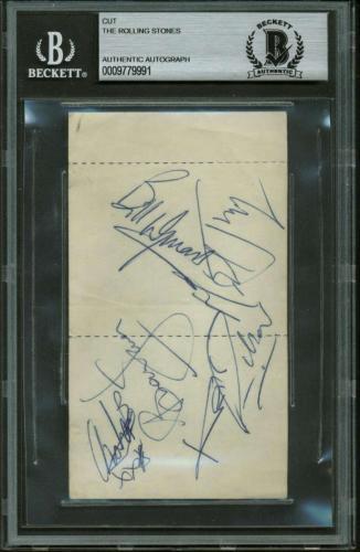 Rolling Stones Signed Autographed 2.5x4 Album Page Richards Jagger Jones +2 BAS
