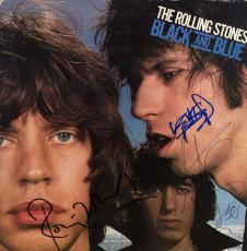 Rolling Stones X3 Autographed Black And Blue Album Cover AFTAL UACC RD COA