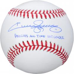 Jimmy Rollins Philadelphia Phillies Autographed Baseball - All Time Hits Leader