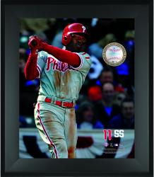 Jimmy Rollins Philadelphia Phillies Framed 20'' x 24'' Gamebreaker Photograph with Game-Used Ball - Mounted Memories
