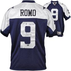 Tony Romo Dallas Cowboys Autographed Thanksgiving Day Blue Reebok Authentic Reebok Jersey with 5 Touchdowns 11/23/06 Inscription