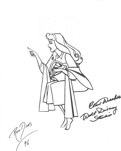 """RON DIAS - ANIMATOR/PAINTER - Contributed in Films """"THE SECRET NIMH"""", """"THE CHIPMUNK ADVENTURE"""", and """"WHO FRAMED ROGER RABBIT"""" and CLAIR WEEKS (SKETCHED SNOW WHITE on the Paper) He Helped Create DISNEY Animated Features """"SNOW WHITE"""" """"BAMBI"""", CINDERELLA"""" an"""