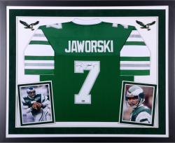 Ron Jaworski Philadelphia Eagles Autographed Deluxe Framed Green Vintage Jersey