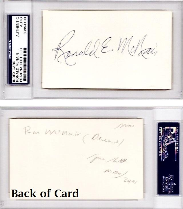 Ron Mcnair Signed Autographed 3x5 Inch Index Card