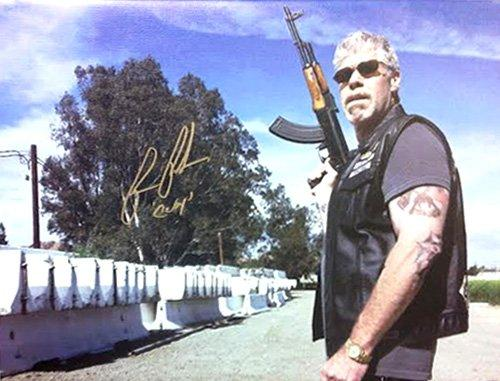 Ron Perlman Clay Morrow Autographed/Signed Sons of Anarchy 12x16 Canvas Print AK-47
