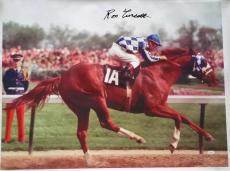 Ron Turcotte Signed Autographed Secretariat Belmont Color 24x35 Canvas JSA