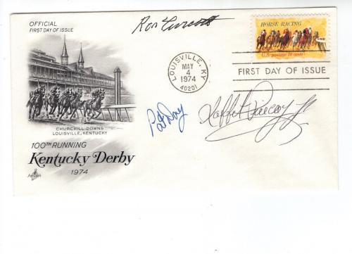 Ron Turcotte+pat Day+laffit Pincay Hand Signed Kentucky Derby Envelope+coa