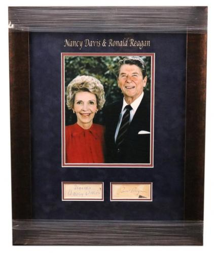 Ronald And Nancy Reagan Davis Jsa Hand Signed Framed Vintage Piece Autograph