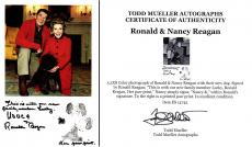 Ronald Reagan and Nancy Reagan Signed - Autographed 8x5 inch Photo with Lucky at Christmas in 1984 - Deceased 2004 - Guaranteed to pass PSA or JSA
