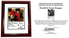 Ronald Reagan and Nancy Reagan Signed - Autographed 8x5 inch Photo with Lucky at Christmas in 1984 - MAHOGANY CUSTOM FRAME - Deceased 2004 - Guaranteed to pass PSA or JSA