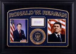 "Ronald Reagan Autographed Cut Deluxe Horizontal Framing 3"" x 5"" PSA Slab"