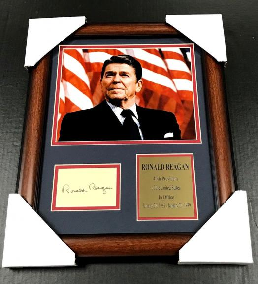 RONALD REAGAN Autographed Facsimile Reprint Framed 8x10 Photo 40TH PRESIDENT