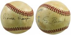 Ronald Reagan & George H.W. Bush Signed OAL Baseball JSA #X80155