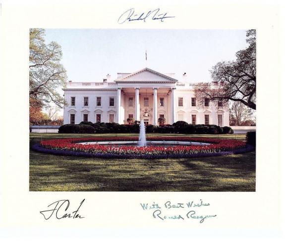 Ronald Reagan Jimmy Carter Richard Nixon Signed Autographed Photo POTUS Beckett