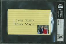 Ronald Reagan Nancy Reagan Signed Autographed 3x5 Index Card Beckett BAS MINT 10