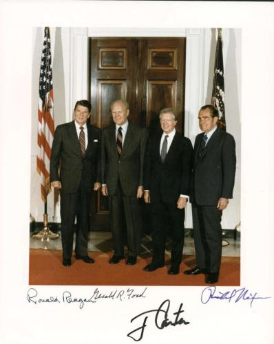 Ronald Reagan Richard Nixon Ford Carter Signed Autographed 8x10 Photo Beckett