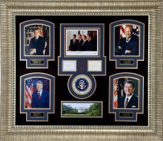 "Ronald Reagan, Richard Nixon, Jimmy Carter, & Gerald Ford Framed Autographed 51"" x 45"" US Presidents Collage - PSA/DNA COA"