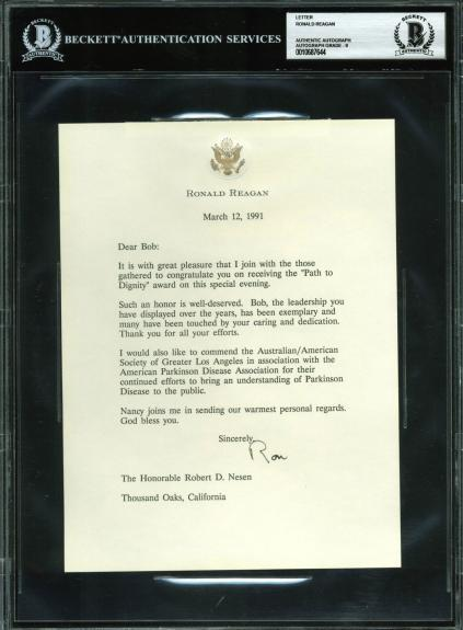Ronald Reagan Signed 1991 Letter On Personal Letterhead Auto Graded 9! BAS Slab