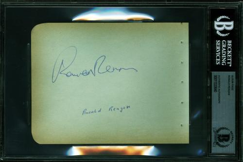 Ronald Reagan Signed 4.5x6 Album Page Autographed BAS Slabbed