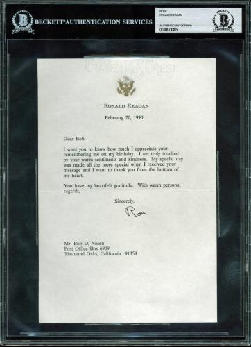 Ronald Reagan Signed 6.5x8.5 1990 Letter On Personal Presidential Letterhead BAS