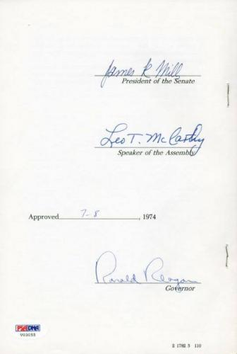 Ronald Reagan Signed 6X9 1974 Ca State Law Resolution Senate Document PSA V03055