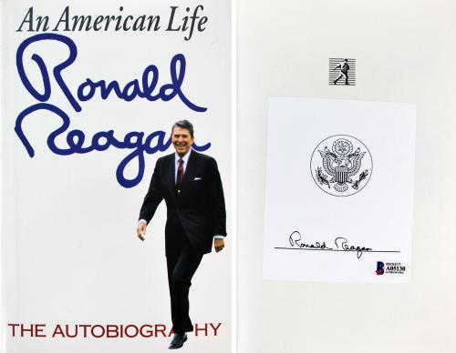 Ronald Reagan Signed An American Life Hard Cover Book BAS #A05130