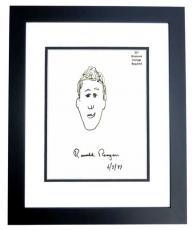 Ronald Reagan Signed - Autographed 6x6 inch Self Portrait from 1987 dated 6-5-87 - Sketch-Artwork-Drawing - BLACK CUSTOM FRAME - Deceased 2004 - Guaranteed to pass PSA or JSA