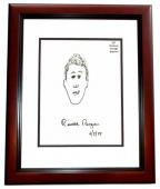Ronald Reagan Signed - Autographed 6x6 inch Self Portrait from 1987 dated 6-5-87 - Sketch-Artwork-Drawing - MAHOGANY CUSTOM FRAME - Deceased 2004 - Guaranteed to pass PSA or JSA
