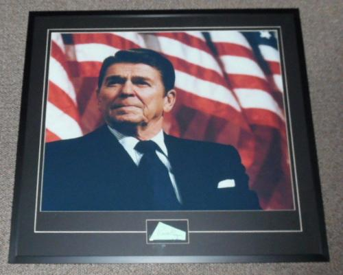 Ronald Reagan Signed Framed 31x34 Photo Poster Display JSA LOA