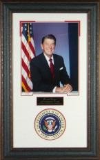 Ronald Reagan unsigned 14x20 Engraved Signature Series Leather Framed w/ Presidential Seal (politics)