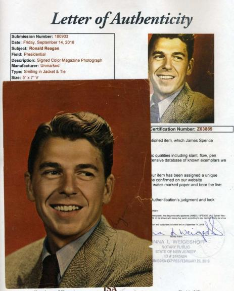 Ronald Reagan Vintage Jsa Loa Hand Signed 5x7 Photo Authentic Autograph