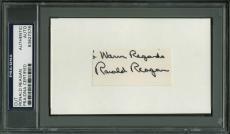 "Ronald Reagan ""Warm Regards"" Signed 1.25x2.5 Cut Signature PSA Slabbed"