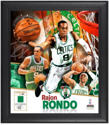 "Rajon Rondo Boston Celtics Framed 15"" x 17"" Collage with Game-Used Jersey-Limited Edition of 509 - Mounted Memories"