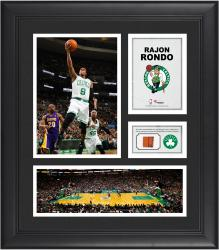 Rajon Rondo Boston Celtics Framed 15'' x 17'' Collage with Team-Used Ball - Mounted Memories
