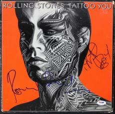Ronnie Wood & Charlie Watts Signed Rolling Stone Tattoo Album Cover PSA #U52955