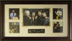 Ronnie Wood unsigned Rolling Stones 5 Photo Engraved Signature Series 29x20 Leather Framed (music/entertainment memorabilia)