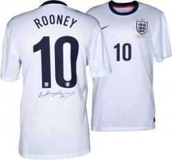 Wayne Rooney Autographed Jersey - England White Home Back Mounted Memories