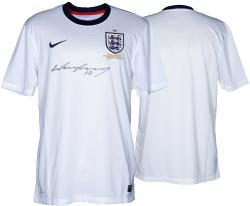Wayne Rooney Signed Jersey - England White Home Front Mounted Memories