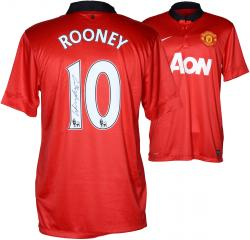 Wayne Rooney Signed Jersey - Red Home Back Mounted Memories