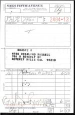 Rosalind Russell (deceased) Signed Receipt From Saks 5th  Signed Jsa Coa #p41801