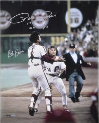 "Pete Rose and Bob Boone Autographed 16"" x 20"" Photograph with Rose 1980 WS Champs Inscription"