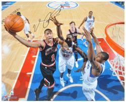 Derrick Rose Chicago Bulls Autographed 16'' x 20'' vs. Philadelphia 76ers Photograph - Mounted Memories