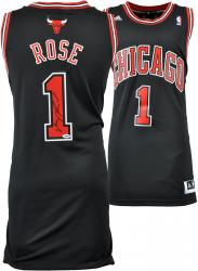 Derrick Rose Chicago Bulls Autographed Swingman Adidas Black Jersey - Mounted Memories